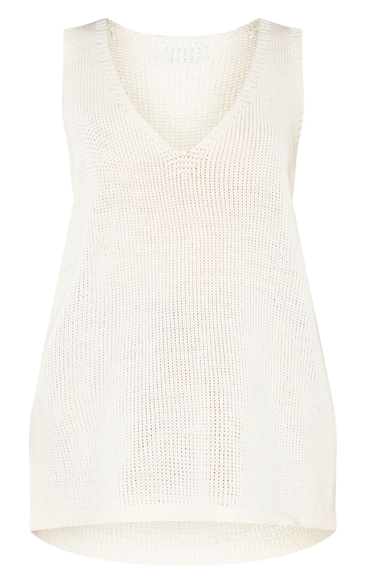 Cream V Neck Sleeveless Knit Vest 3