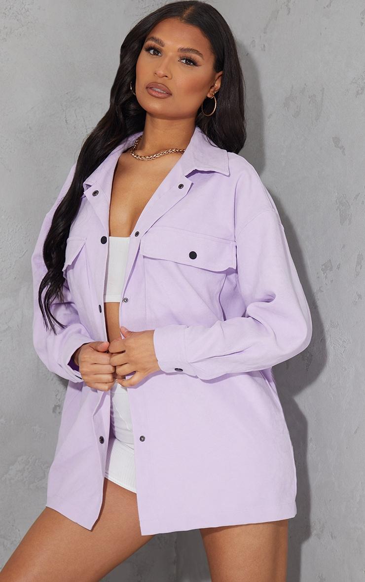 Lilac Twill Pocket Detail Oversized Boxy Shirt 1