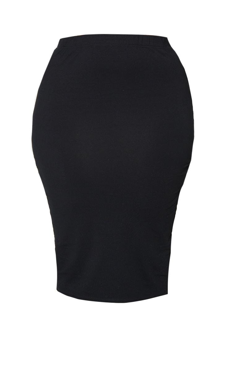 Basic Plus Black Jersey Midi Skirt 5