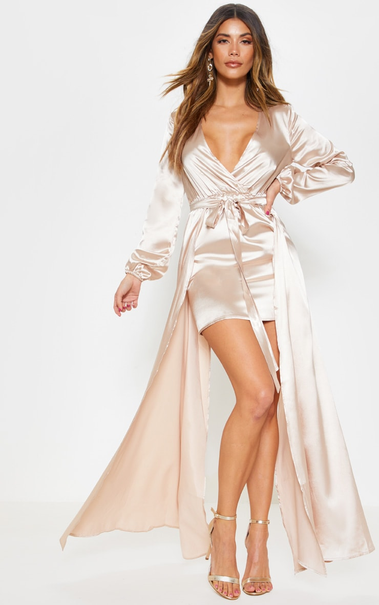 Champagne Satin Plunge 2 in 1 Maxi Dress 1