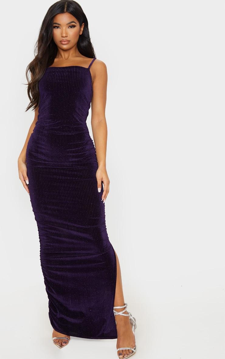 Purple Velvet Glitter Stripe Ruched Midaxi Dress 4