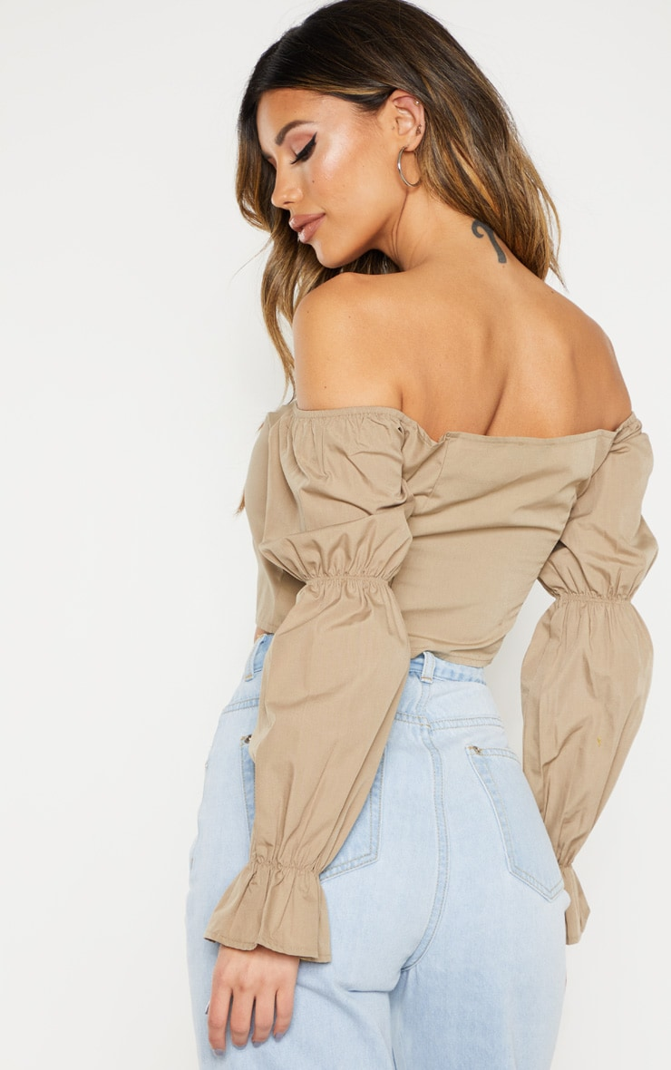 Taupe Button Front Bardot Puff Long Sleeve Crop Top 2