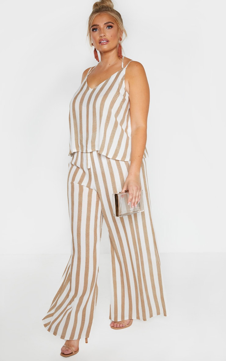 Plus Stone Striped Woven Tie Back Cami Top  4