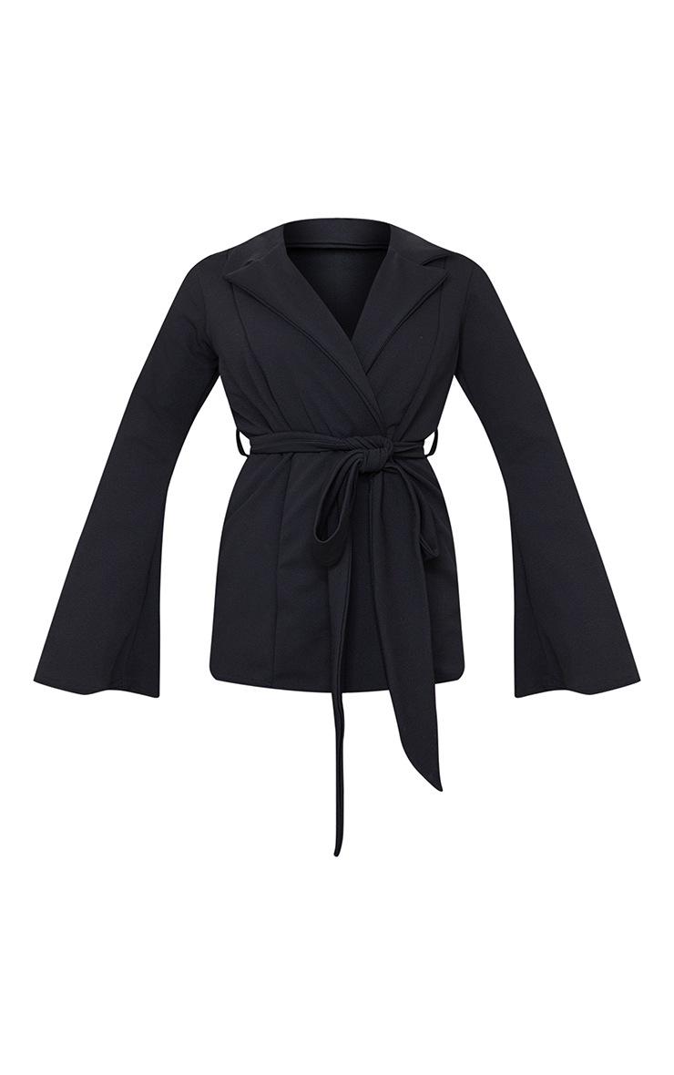 Black Crepe Flare Sleeve Tie Jacket 5
