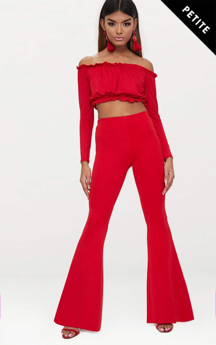 Petite Red High Waist Extreme Flare Trousers 1