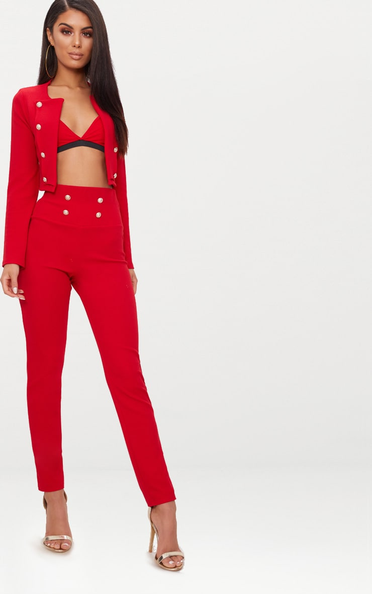 Red Military Cropped Jacket  3