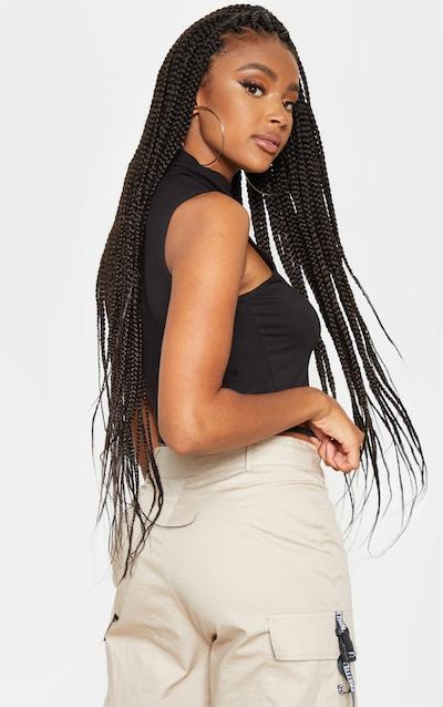 Basic Black Jersey Roll Neck Sleeveless Crop Top