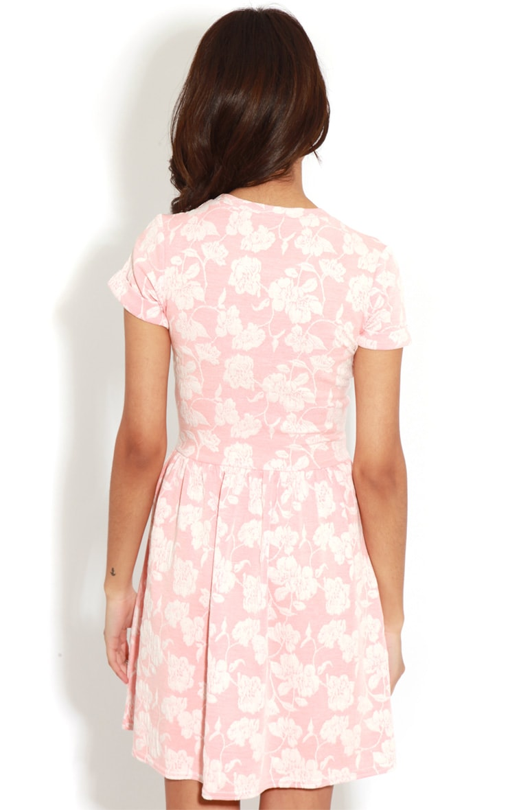 Eloise Coral Floral Dropped Hem Dress 2