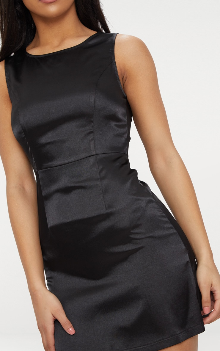Black Satin Shift Dress 5