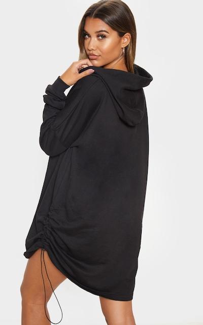 Black Ruched Side Hooded Jumper Dress