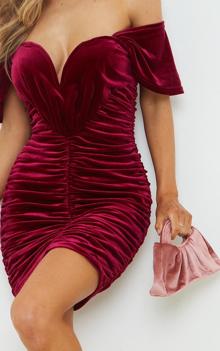 Burgundy Velvet Plunge Ruched Bardot Bodycon Dress 4
