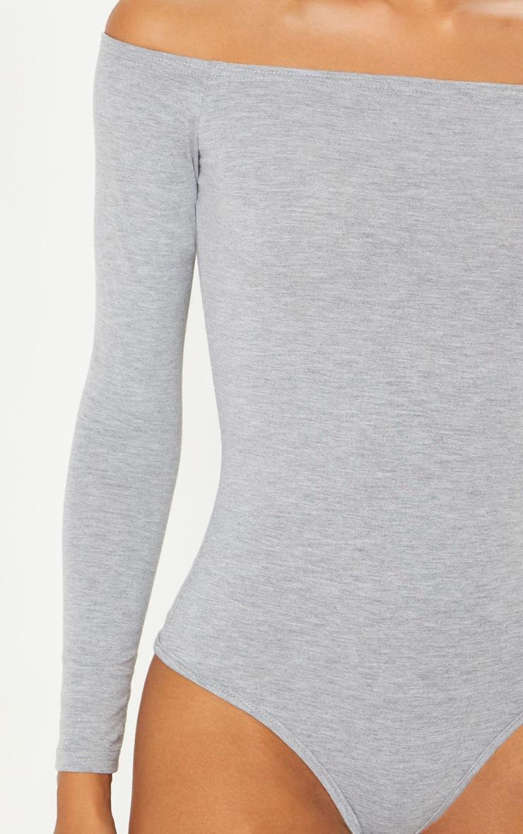 Basic Grey Bardot Thong Bodysuit 6
