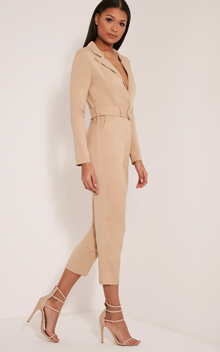 Mell Taupe Wrap Buckle Crop Jumpsuit 4