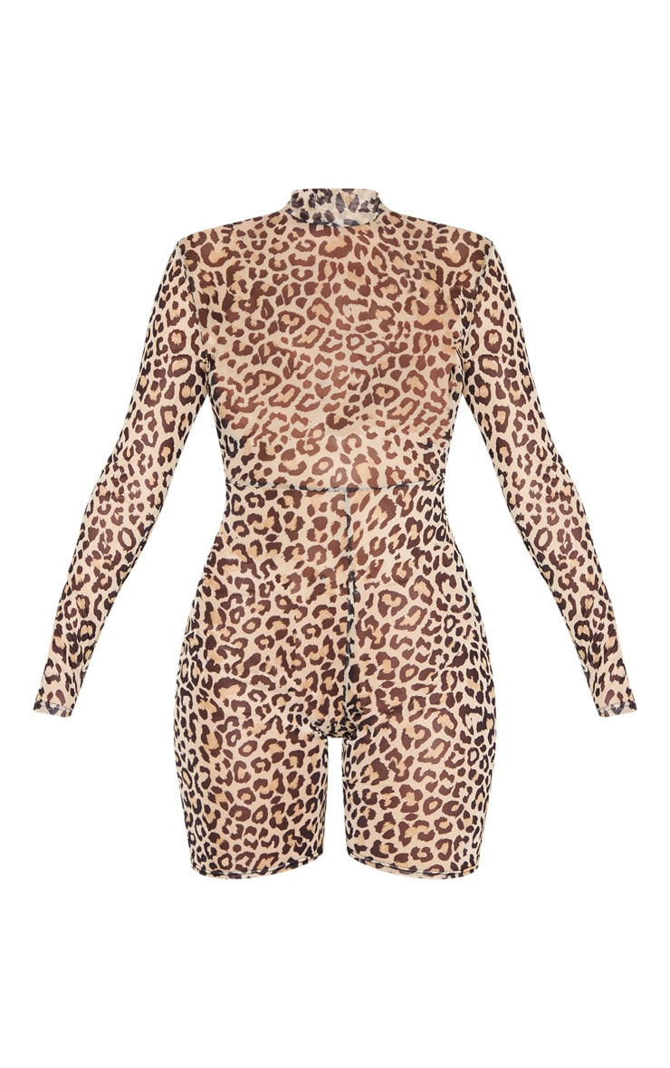 Tan Leopard Print Mesh Long Sleeve Unitard 3