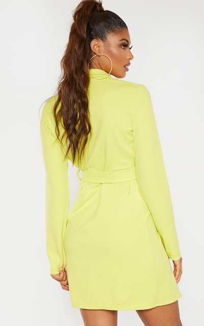 Tall Chartreuse Tailored Belt Detail Blazer Dress