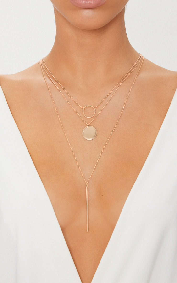 Gold Layered Disk Plunge Necklace