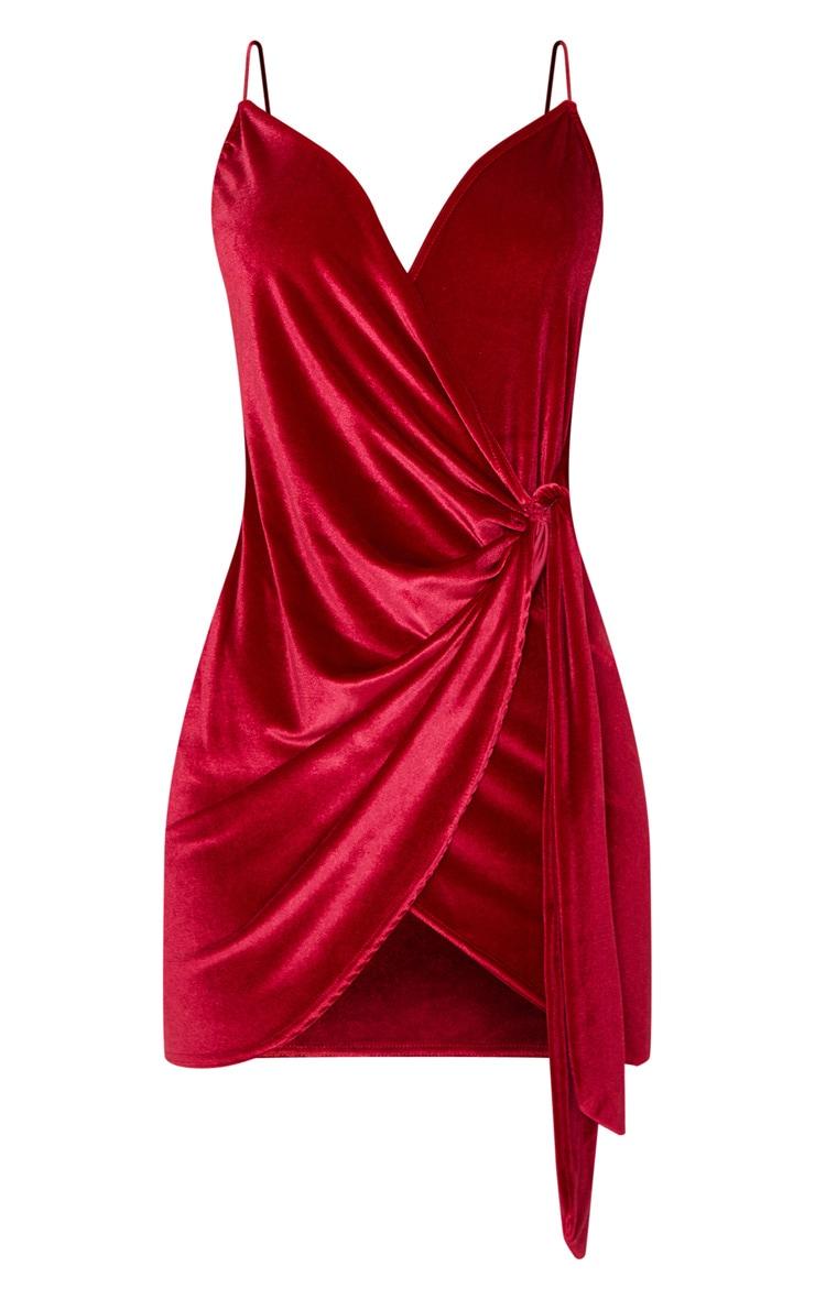 Burgundy Strappy Velvet Wrap Detail Bodycon Dress 3