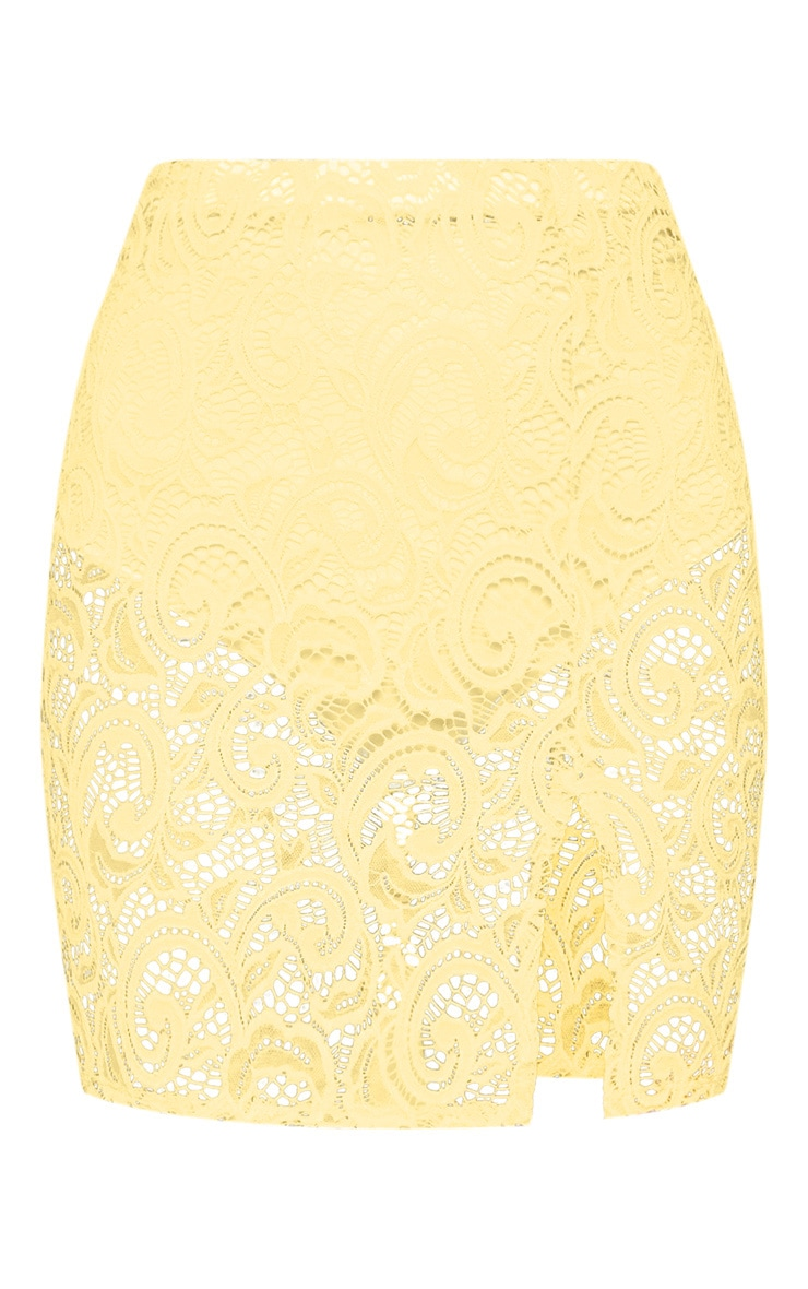 Yellow Lace Mini Skirt With Split 3