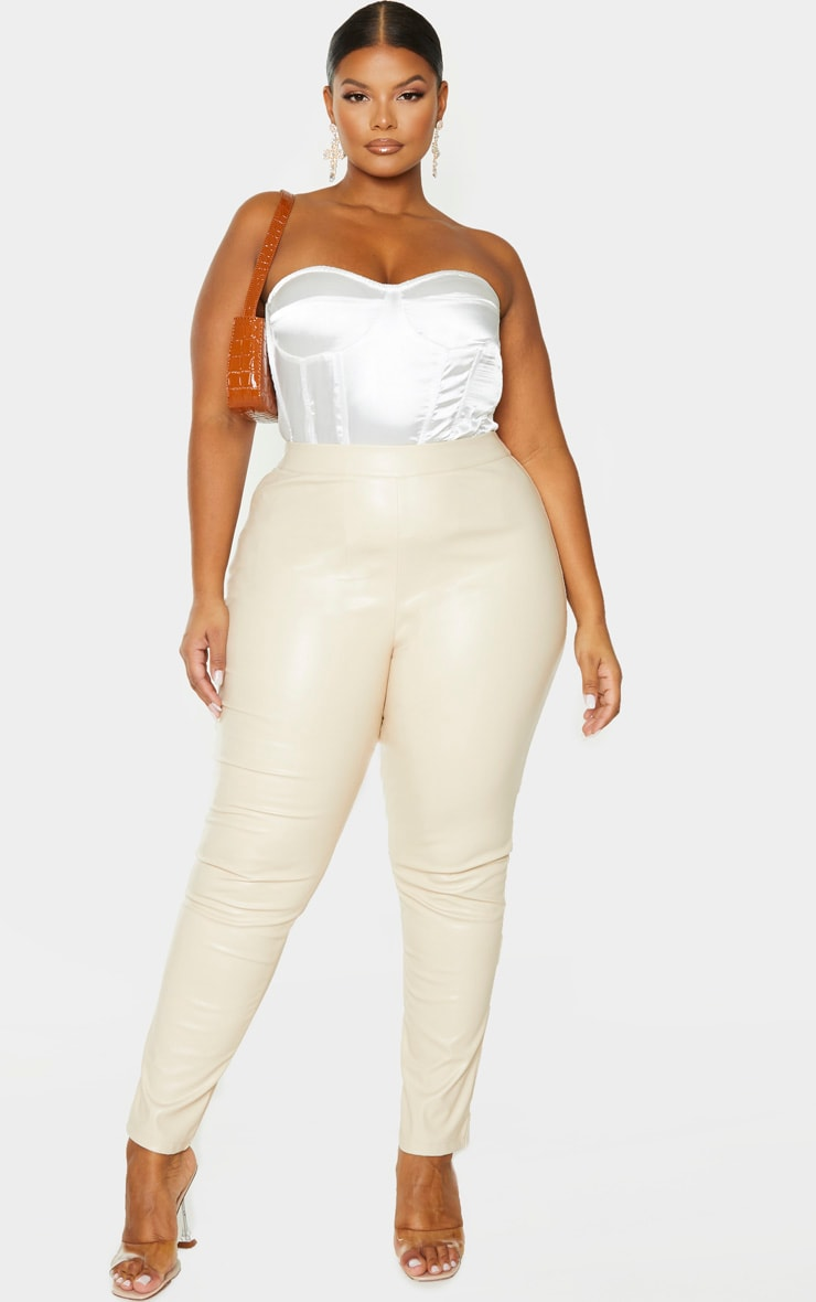 Plus Cream PU Skinny Pants 1