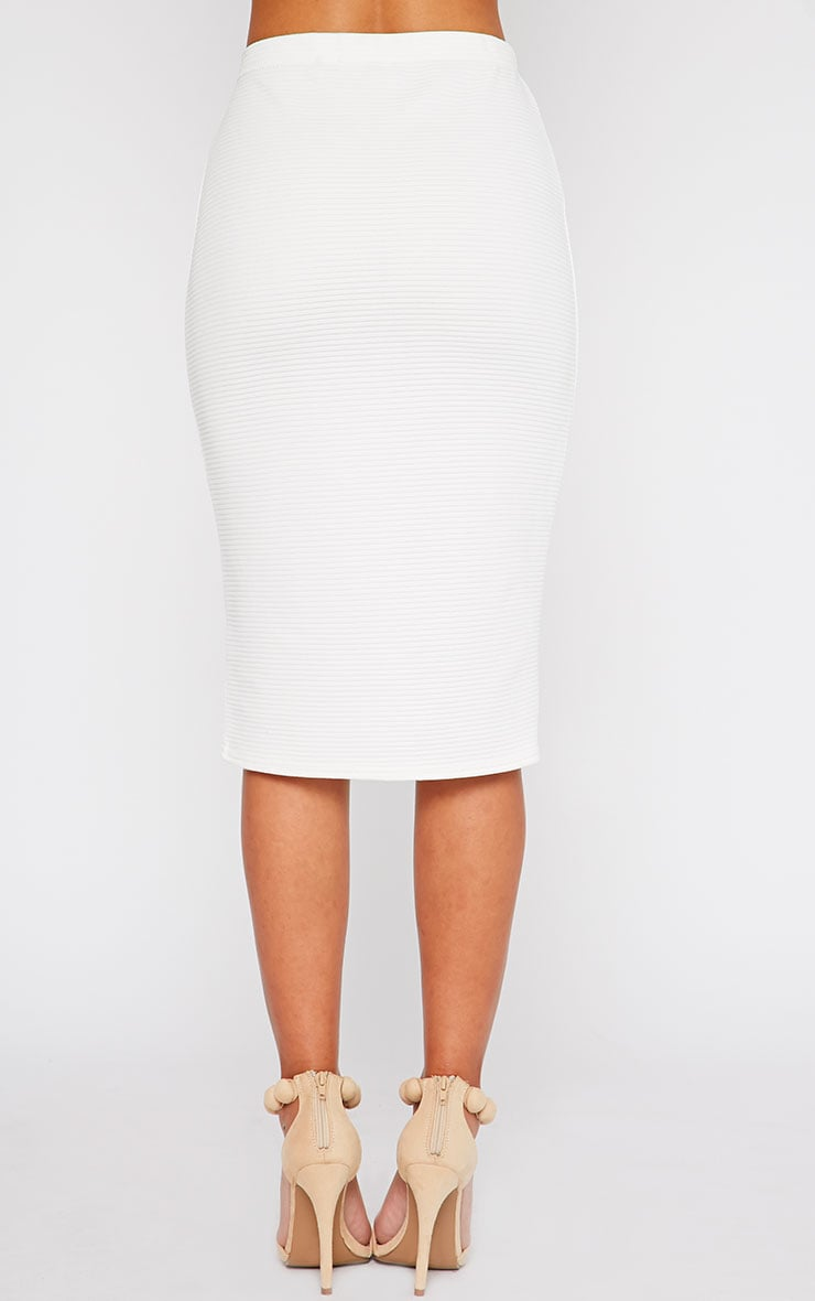 Britney Cream Ribbed Midi Skirt 4