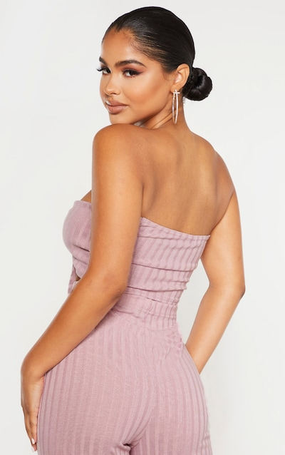 Petite Dusty Lilac Ribbed Tie Front Bandeau Top
