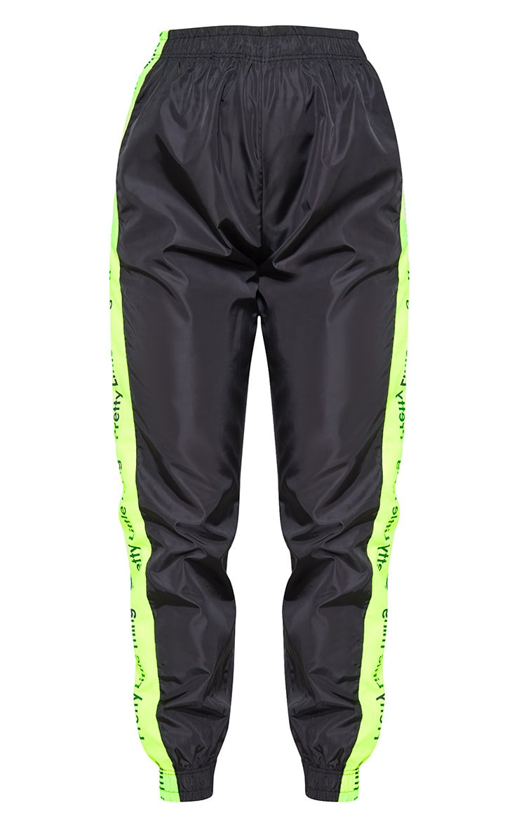 PRETTYLITTLETHING Black Neon Side Tape Shell Jogger 3