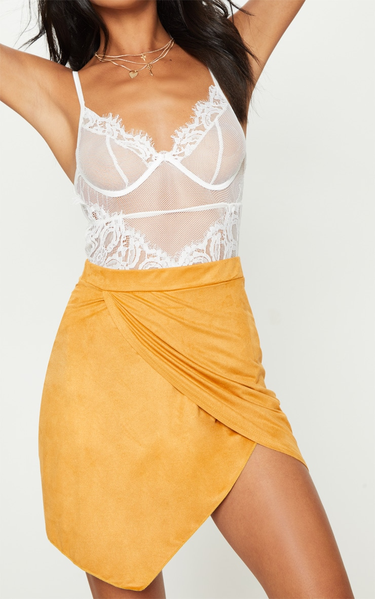 Yellow Faux Suede Wrap Over Mini Skirt 6