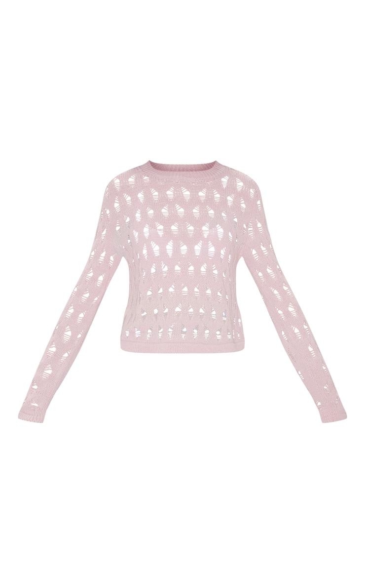 Pull rose tendre en maille tricot ajourée 5