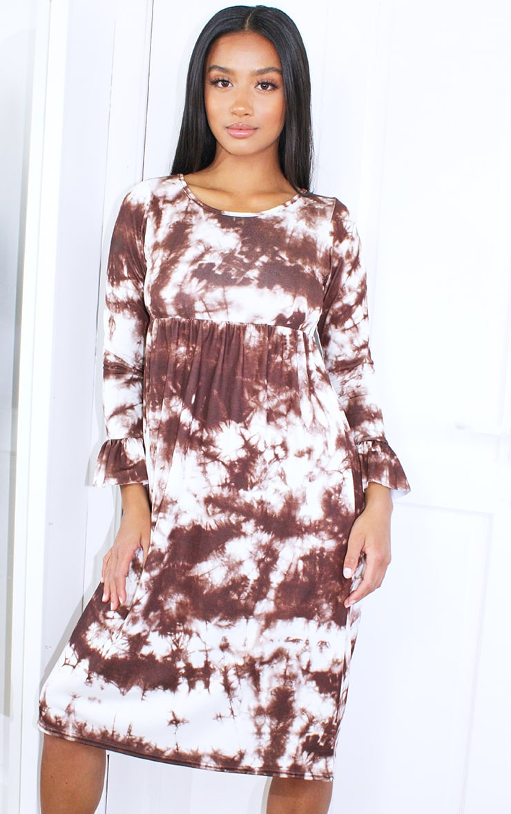 Petite Brown Long Sleeve Tie Dye Midi Smock Dress 3