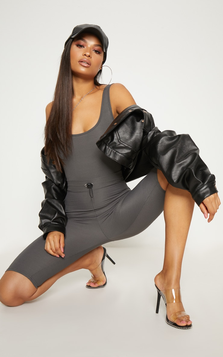 Charcoal Ribbed Toggle Waist Scoop Neck Unitard