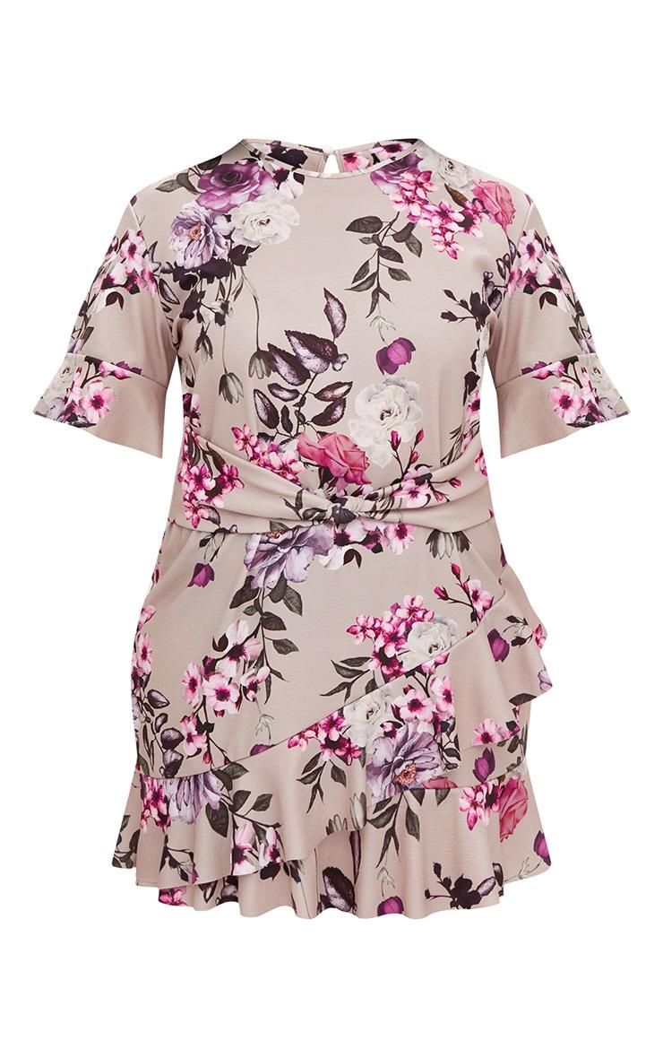 Plus Grey Floral Belted Frill Hem Mini Dress 3