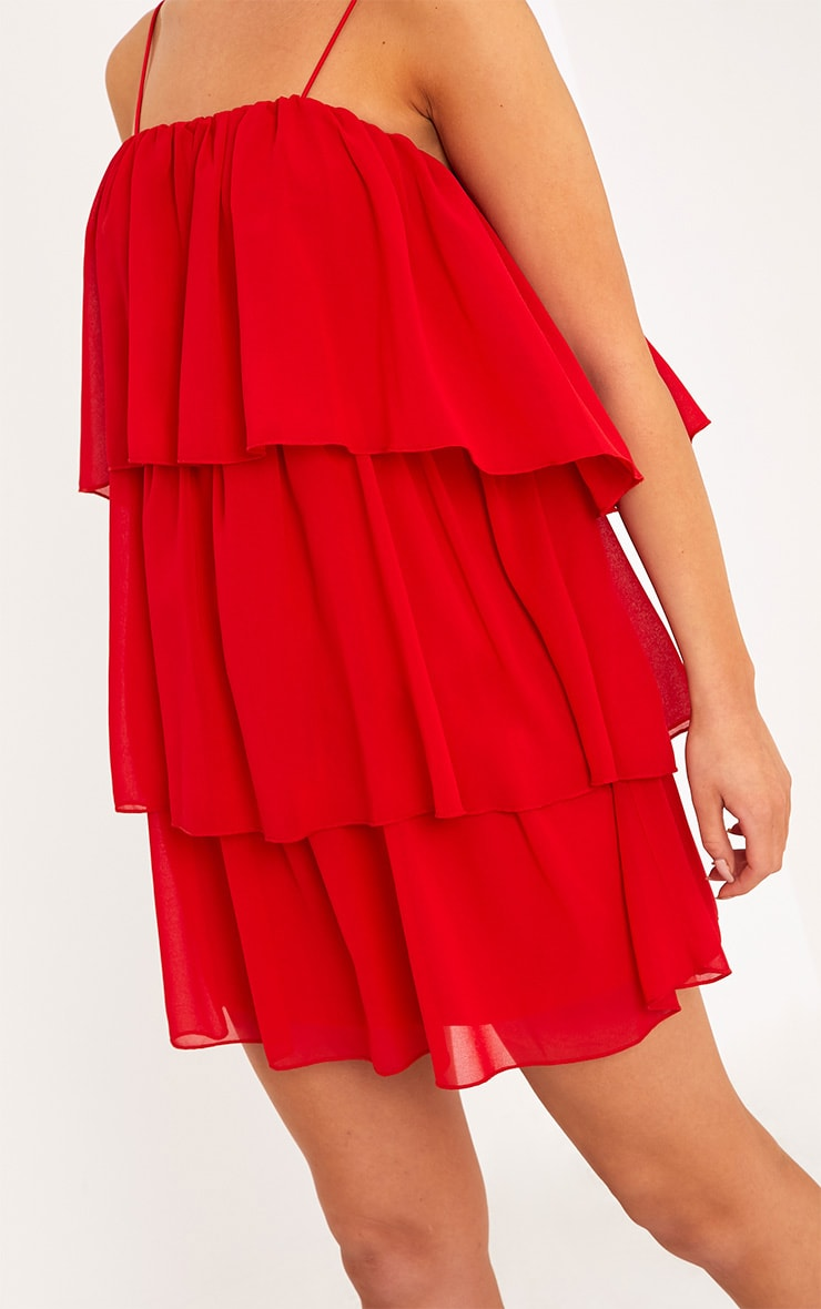 Indira Red Chiffon Frill Layer Shift Dress 5