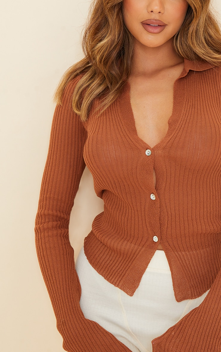 Rust Sheer Knit Button Up Collared Cardigan 4