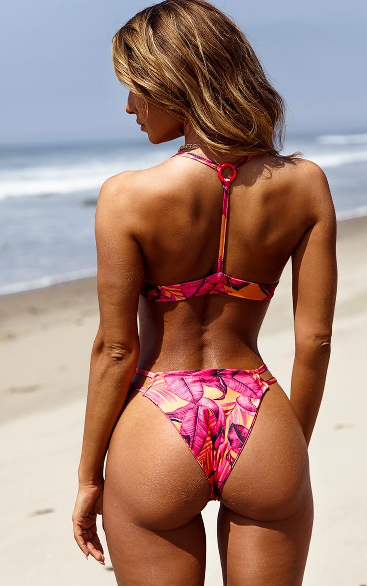 Orange Palm Leaf Triangle Bikini Top 2