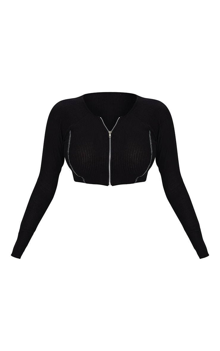 Shape Black Brushed Rib Contrast Stitch Zip Front Crop Top 5