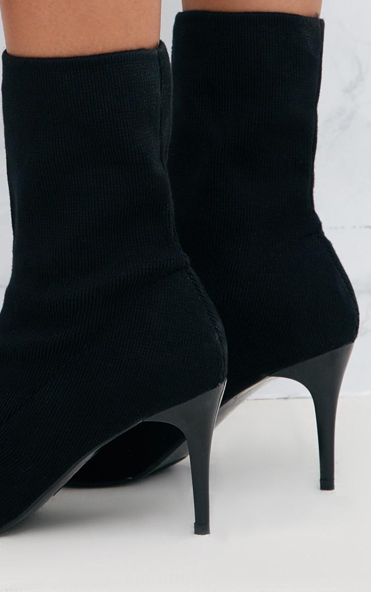 Black Mid Heel Ankle Sock Boot 5