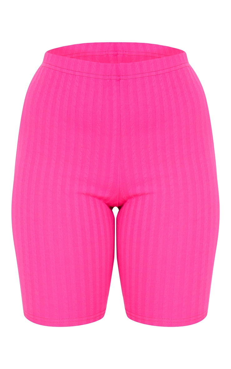 Petite Hot Pink Crinkle Cycle Shorts 6