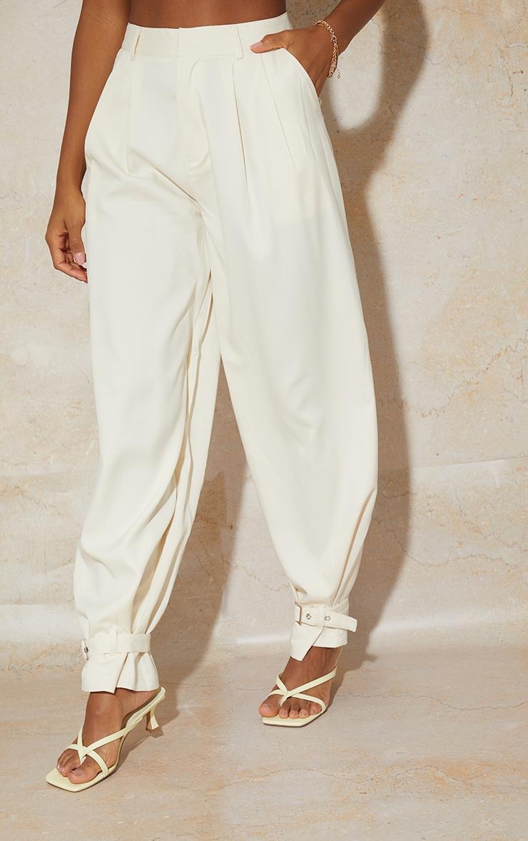 Cream Woven Buckle Cuff Straight Leg Trousers 2