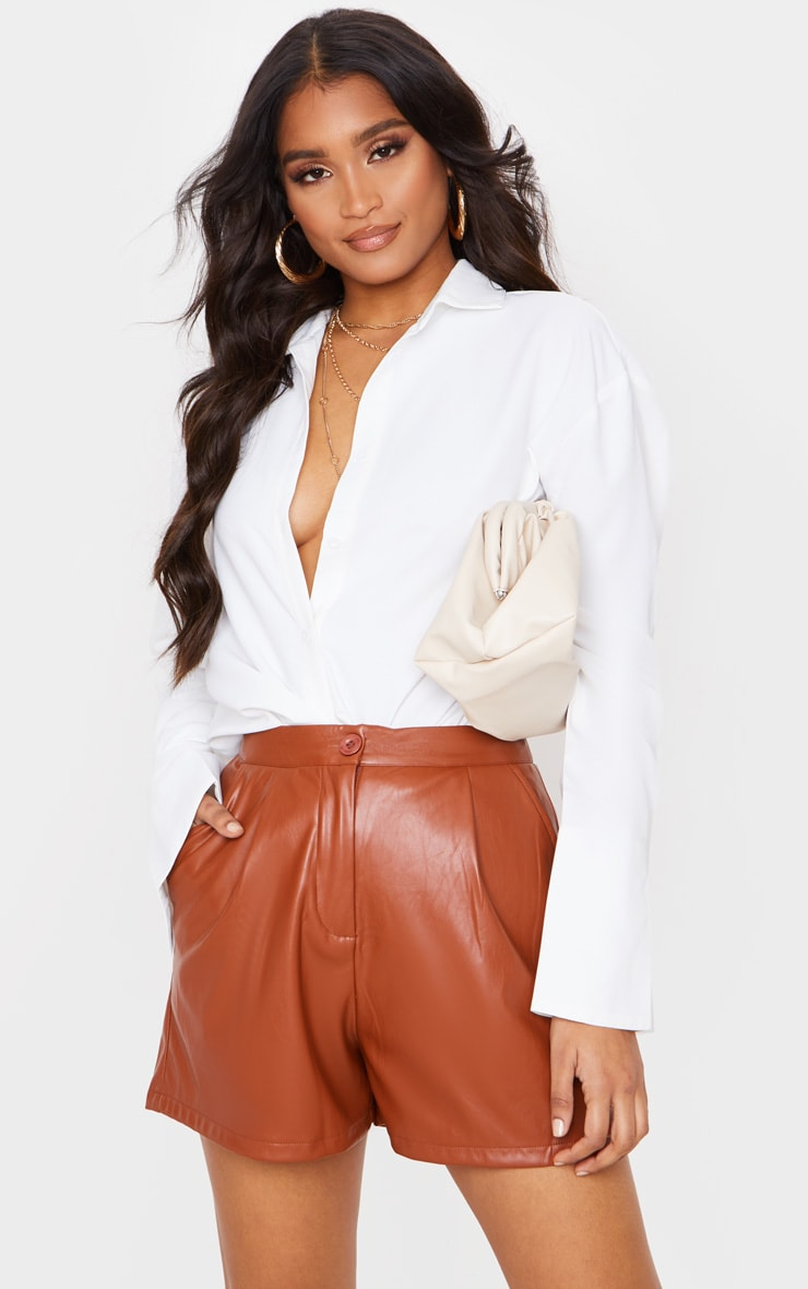 Tan Faux Leather Tailored Shorts 5