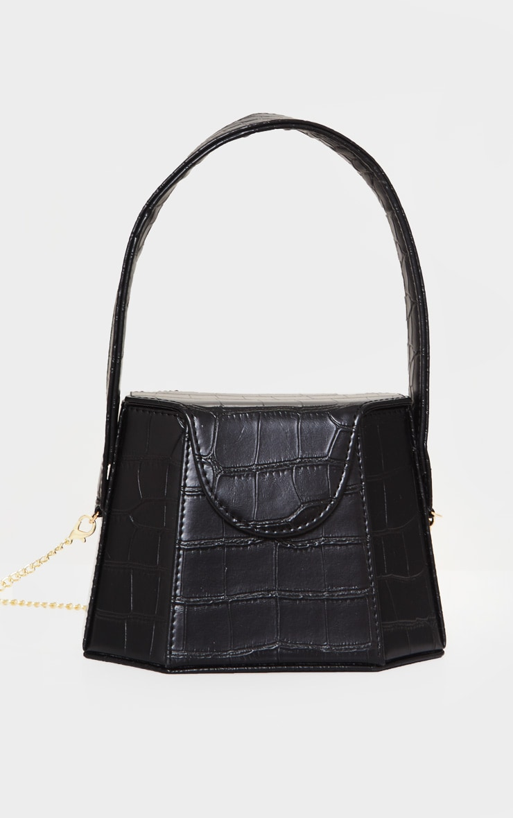 Black Croc Angular Structure Cross Body Bag 2