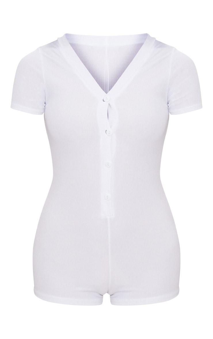 White Ribbed Button Detail Short Sleeve PJ Romper 3
