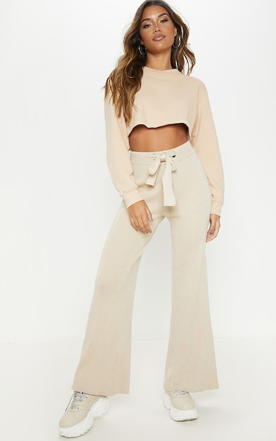 Ribbed Knitted Wide Leg Stone Trouser
