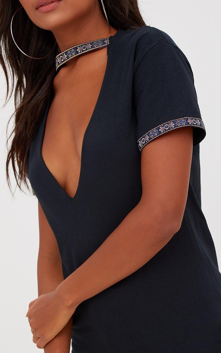 Black Aztec Choker Trim Oversized T Shirt 5
