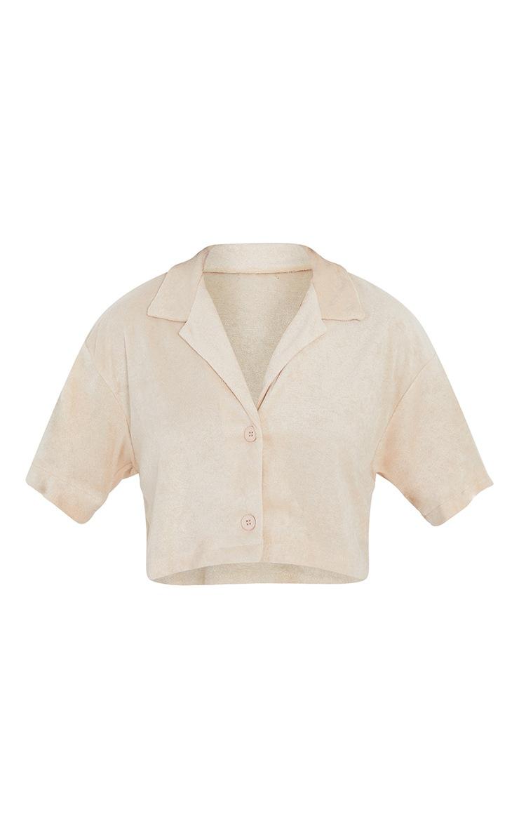 Beige Towelling Oversized Short Sleeve Crop Shirt 5