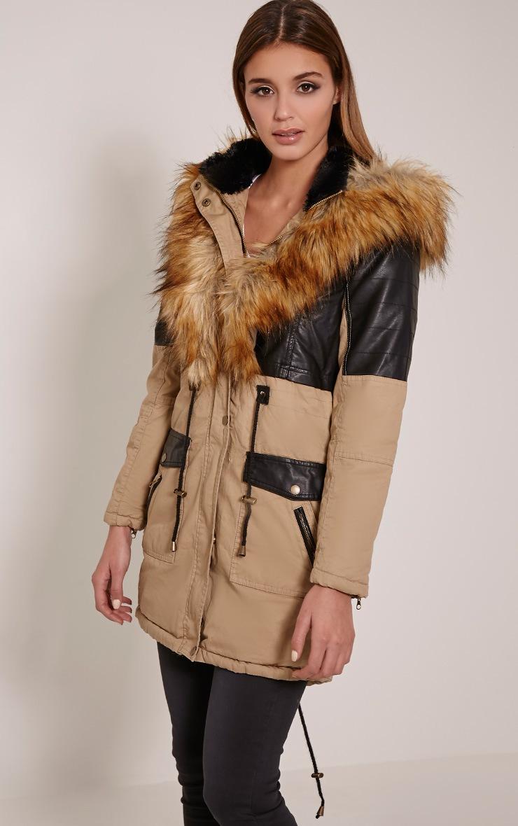 Elanor Camel PU Panel Fur Collar Parka Jacket 4
