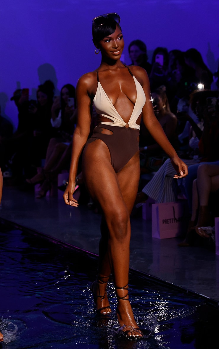 Chocolate Contrast Cut Out Swimsuit 3