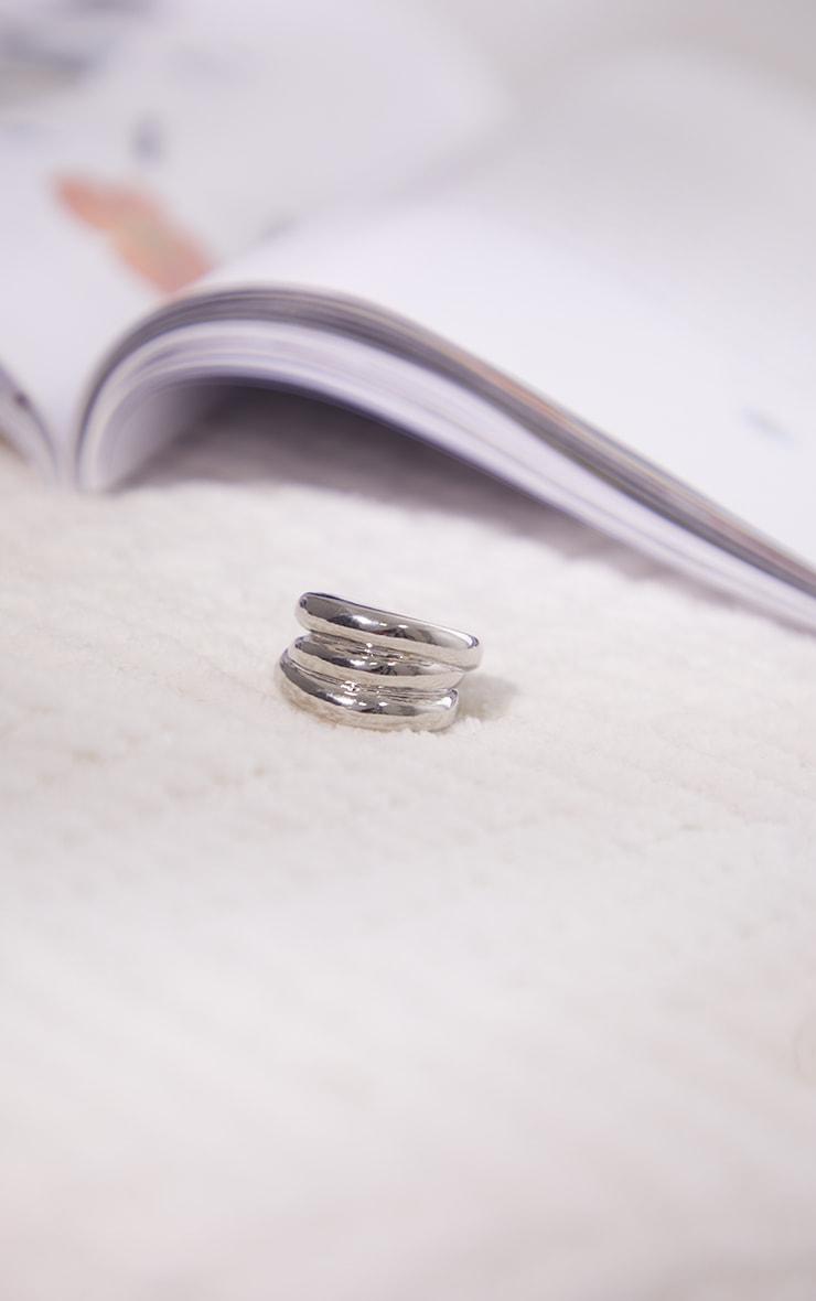 Silver Chunky Ribbed Ring 1