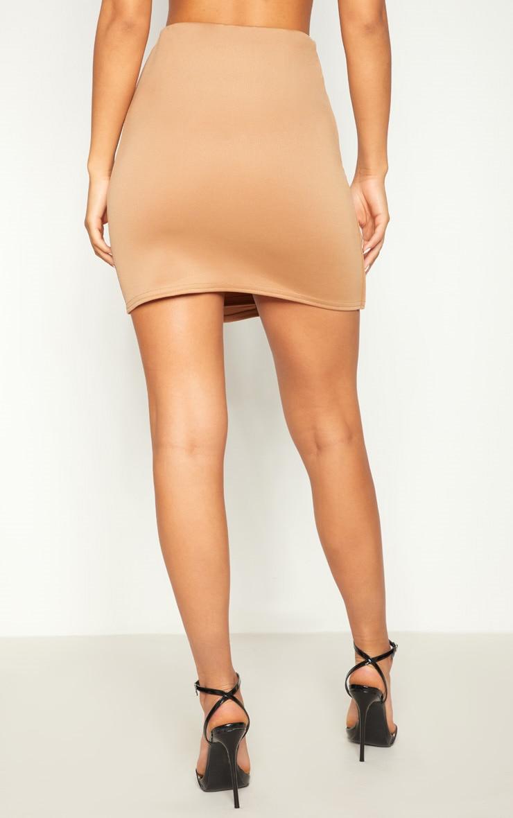 Camel Scuba Button Front A Line Skirt 4