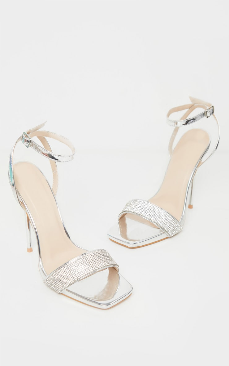 Silver Diamante Strappy High Sandal 3