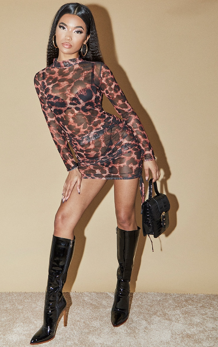 Brown Leopard Print Mesh Ruched Detail Long Sleeve Bodycon Dress 1